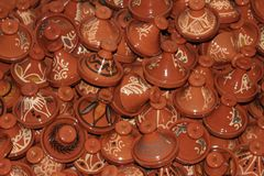 A collection of small pottery tangines in Morocco royalty free stock photos