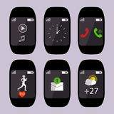 Collection smart watch with icons on the display heart rate, pulse, running, message sms, call, weather, time. Vector illustration stock illustration