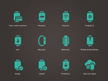 Collection of smart watch and payment app icons set. Stock Image