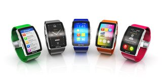 Collection of smart watches Royalty Free Stock Photo