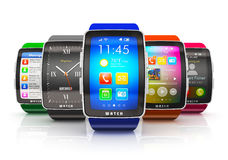 Collection of smart watches Stock Images