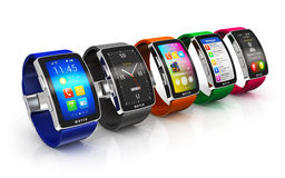 Collection of smart watches Royalty Free Stock Image