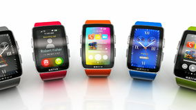 Collection of smart watches stock footage