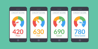 Collection smartphones with credit score app on the screen in flat style. Financial information about the client. Vector. Illustration  on white background Royalty Free Stock Photography