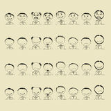 Collection of smile icons, faces of men Stock Image