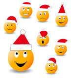 Collection of smiles. New Year's and Christmas collection of illlustrations Royalty Free Stock Photography