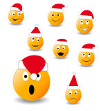 Collection of smiles. New Year's and Christmas collection of illlustrations Stock Photo