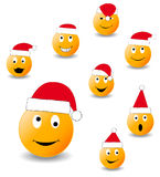 Collection of smiles. New Year's and Christmas collection of illlustrations Royalty Free Stock Photo