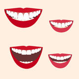Collection of smiles. Set of Women Lips. Toothy Smiles. Lipsticks royalty free illustration