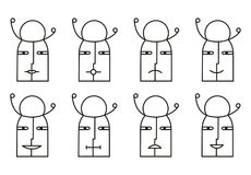Collection of 8 smiley icons in black and white tone. Pictogram. Different emotions. Funny little man with hat Stock Image