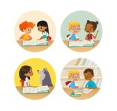 Collection of smiling children reading books and talking to each other at school library. Set of school kids discussing. Literature in round frames. Cartoon royalty free illustration