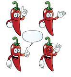 Smiling chili pepper set. Collection of smiling chili peppers with various gestures Royalty Free Stock Photos