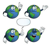 Smiling Earth globe set. Collection of smiling Earth globes with various gestures Stock Photo
