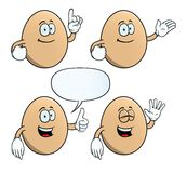 Smiling egg set. Collection of smiling eggs with various gestures Stock Images