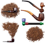 Collection of smoking pipes and tobacco Stock Photo