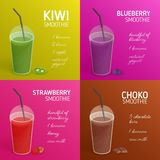 Collection of smoothie or cocktail recipes with colorful drinks made of tropical fruits, berries, chocolate and place royalty free illustration
