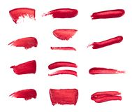 Collection of smudged lipsticks isolated on white stock illustration