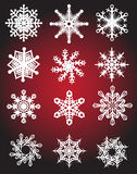 Collection of Snow Flake Designs Stock Photography