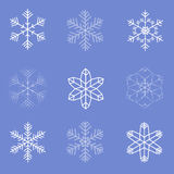 Collection of Snow Flakes. Collection of 9 Snow Flakes Royalty Free Stock Images