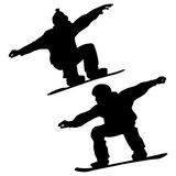 Collection. Snowboarders And A Skier Royalty Free Stock Photography