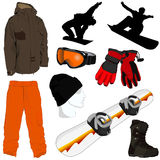 A Collection of Snowboarding Gear royalty free stock photography