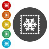 Collection of snowflake vector postage stamps. Vector icon stock illustration