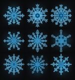 Collection of the snowflakes. Collection of the blue snowflakes stock illustration