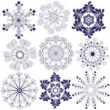 Collection of snowflakes Royalty Free Stock Photos
