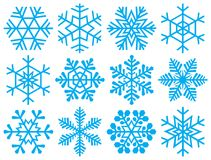 Collection of snowflakes. Royalty Free Stock Images