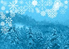 Snowflakes collection on blue snowy trees background royalty free stock image