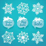 Collection of snowflakes and sale labels. Winter discount Royalty Free Stock Photography