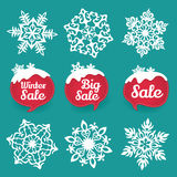 Collection of snowflakes and sale Winter discount Royalty Free Stock Photos
