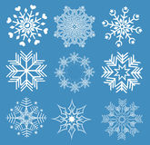 Collection of snowflakes Stock Images