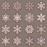 Collection of snowflakes with shadow. Set of pink elements for design on a dark background. Stock Photos