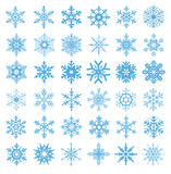 Collection of 36 snowflakes vector. A diverse set of snowflakes for design of Christmas and winter holidays Stock Images