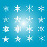Collection of 16 snowflakes. Vector illustration Royalty Free Stock Photos