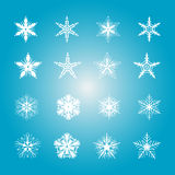 Collection of 16 snowflakes. Vector illustration Royalty Free Stock Photo