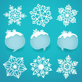 Collection of snowflakes and winter labels with space for text. Royalty Free Stock Images