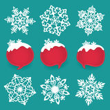 Collection of snowflakes and winter labels with space for text. Royalty Free Stock Photo