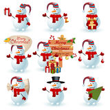 Collection of snowman. Vector illustration Royalty Free Stock Photos