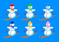 Collection of snowmen Royalty Free Stock Image
