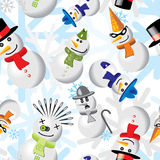Collection of snowmen in different outfits Royalty Free Stock Image