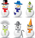 Collection of snowmen in different outfits Royalty Free Stock Photography
