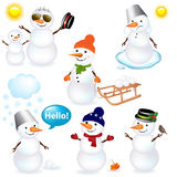 Collection Of Snowmen. Vector Stock Photo