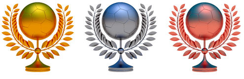 Collection of soccer ball prizes. 3d object illustration Royalty Free Stock Photos