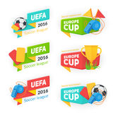 Collection of soccer cup badges. Royalty Free Stock Photography