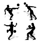 Collection of soccer players playing with the ball, silhouettes. On white background with shadow, vector Stock Photos