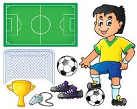 Collection with soccer theme 1 Royalty Free Stock Image