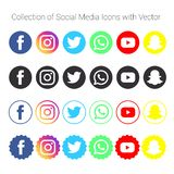 Collection of social media icons and logos royalty free illustration