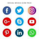 Collection of social media icons and logos. With vector files. easily editable and have white background. high resolution royalty free illustration
